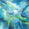 Meeresschildkröte, Aquarellmalerei, Schildkröte, Aquarell