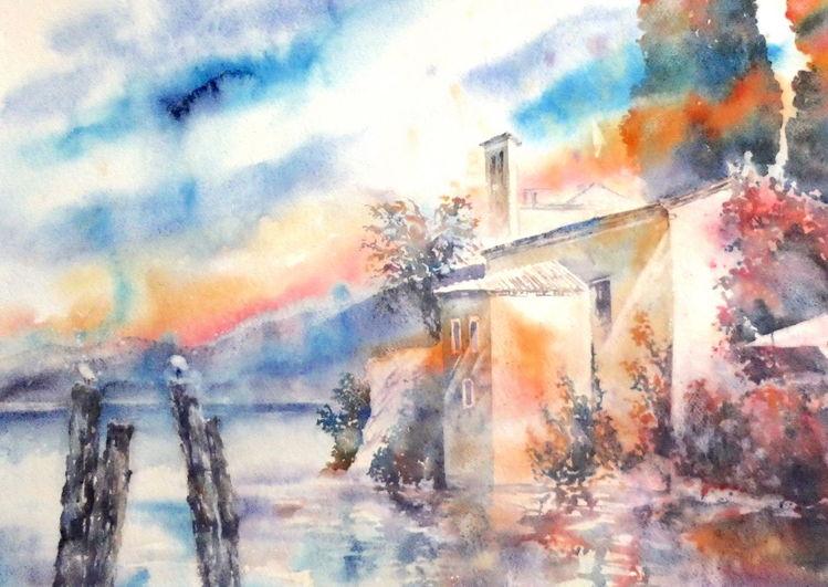 Aquarellmalerei, Gardasee, Italien, San vigilio, Aquarell