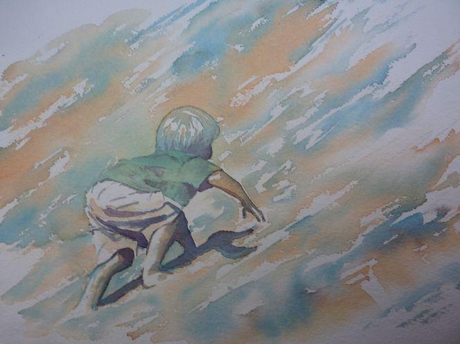Bewegungsstudie, Kind, Aquarellmalerei, Krabbeln, Sandberg, Portugal