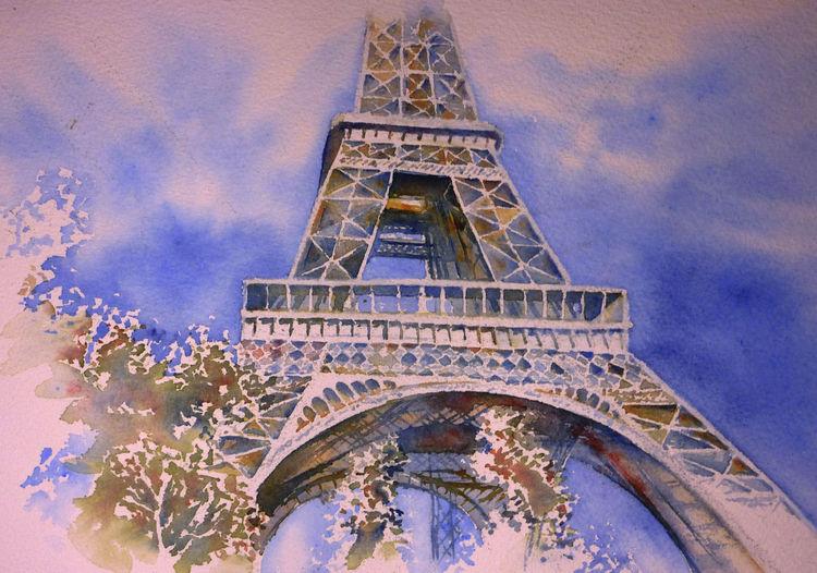 Eiffelturm, Paris, Frankreich, Aquarellmalerei, Tour eiffel, Aquarell