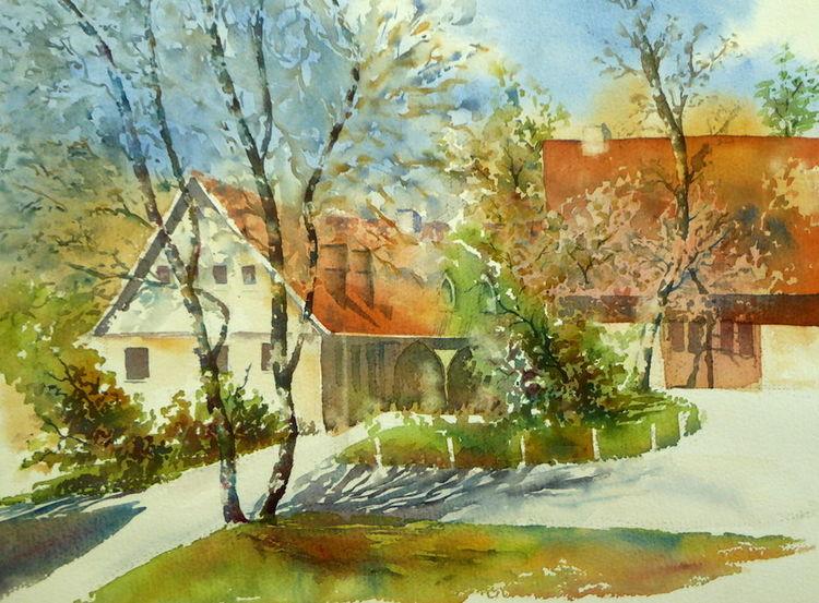 Aquarellmalerei, Oberfranken, Schloss, Wirtschaftsgebäude, Rödental, Coburg