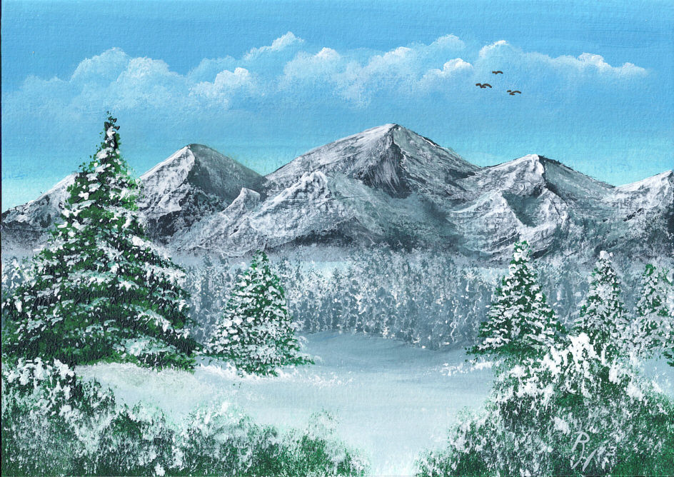 Modern Oil Painting On Canvas Mountain Cabin