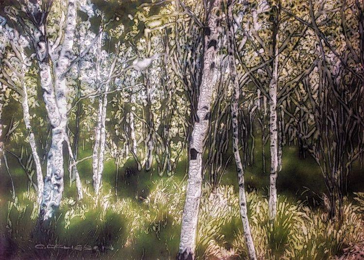 Wald, Steinpapier, Aquarellmalerei, Tuschmalerei, Mischtechnik, Frühling