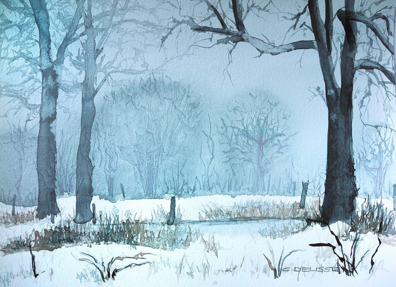 Winterlandschaft wald feld teich schnee von for Teich winter