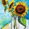 Stillleben, Aquarellmalerei, Sonnenblumen, Aquarell