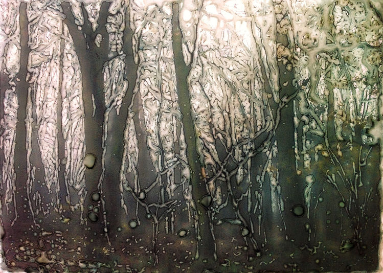 Wald, Aquarellmalerei, Baum, Tusche, Steinpapier, Mischtechnik
