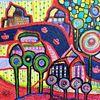 Fluss, Acrylmalerei, Fantasie, Boot