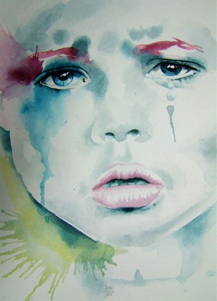 Kind, Gesicht, Beatiful child, Aquarellmalerei, Malerei, Menschen