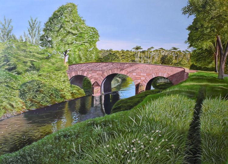 Landschaft, Ölmalerei, Natur, Frühling, Malerei, Brücke