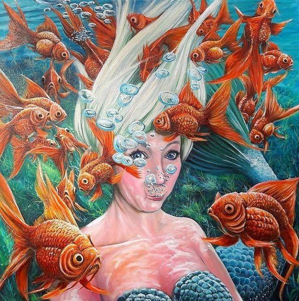 Nixe meermaid, Blond, Fisch, Unterwasser, Goldfisch, Luftblasen