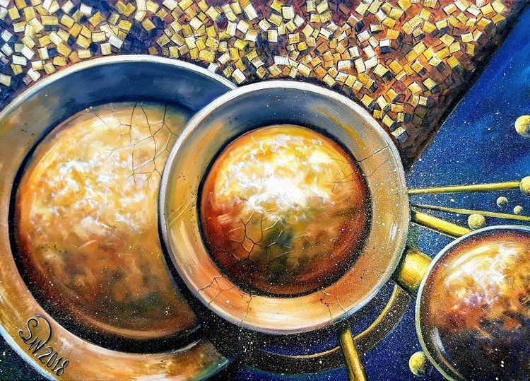 Metall, Ölmalerei, Kugel, Formen, Gold, Geometrie