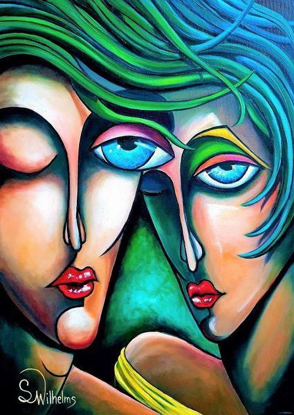 Gesicht, Abstrakt, Paar, Augen, Grün, Portrait