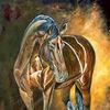 Pferde, Pferdeportrait, Brown horse, Malerei