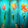 Zwiebeln, Tulpen, Türkis, Blumen