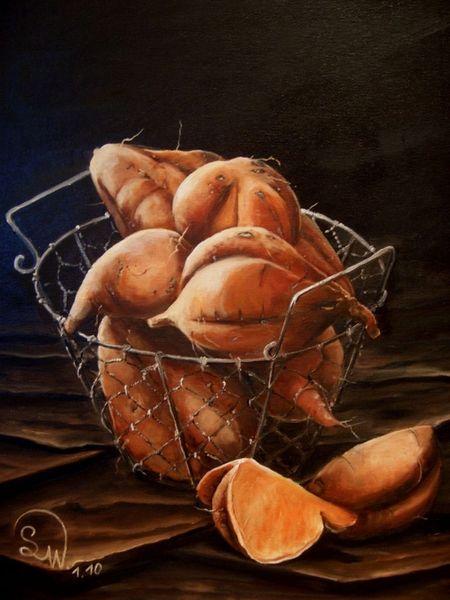 Früchte, Gemüse, Kartoffeln, Stillleben, Ernte, Malerei