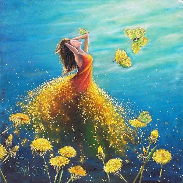 Traum, Pusteblumen, Schweben, Mädchen, Elfen, Schmetterling