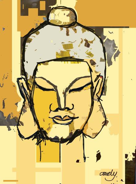 Digitale kunst, Buddha, Gelb, Digital,