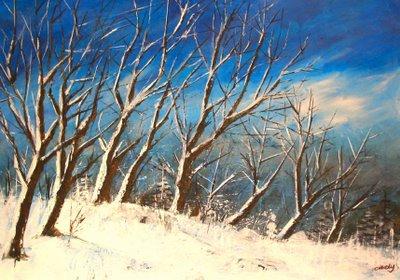 Malen, Farben, Winterwald, Natur, Malerei