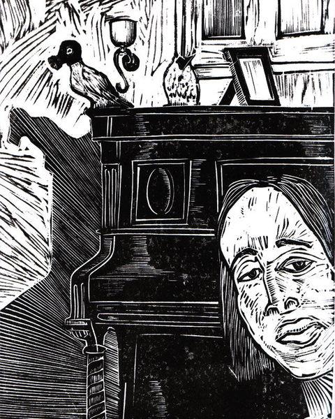 Linolschnitt, Hoss, 2013, Schwarz, Druckgrafik,