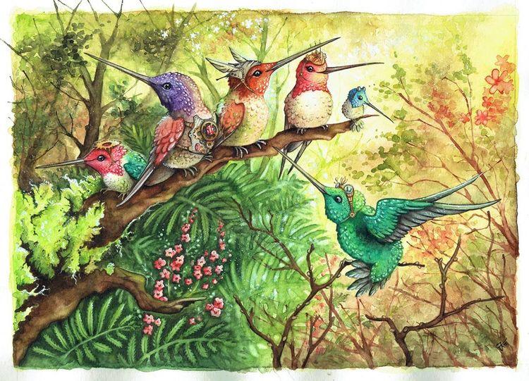 Kolibri, Zahnräder, Vogel, Steampunk, Aquarell,