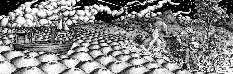 Nacht, Zeichnung, Tusche, Crumb, Zeichnungen