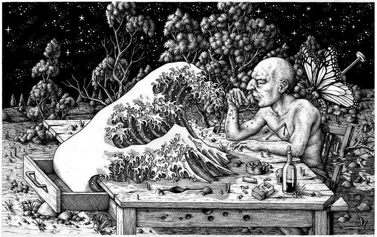 Nacht, Tusche, Zeichnung, Buch, Landschaft, Zeichnungen