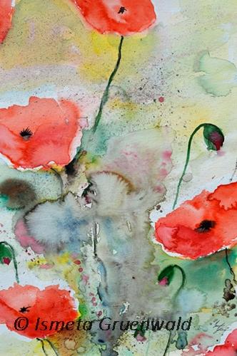 Mohn blumen, Aquarellmalerei, Blumenmalerei, Blumenkunst, Kunst kaufen, Roter mohn