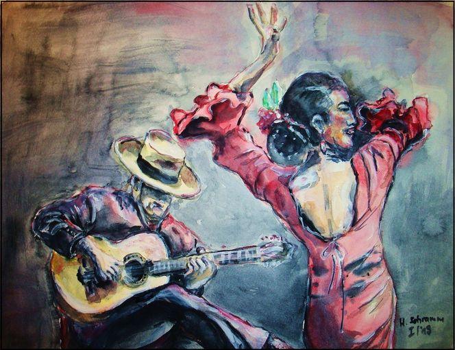 Musik, Flamencotänzerin, Bunt, Aquarell, Figural