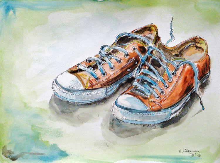 Freizeit, Sport, Schuhe, Malerei,