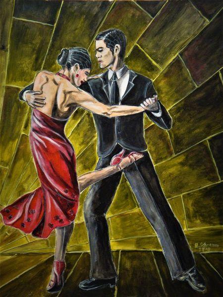 Bewegung, Leidenschaft, Frau, Tango, Mann, Malerei