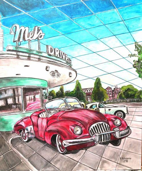 Auto, Rot, Malerei,