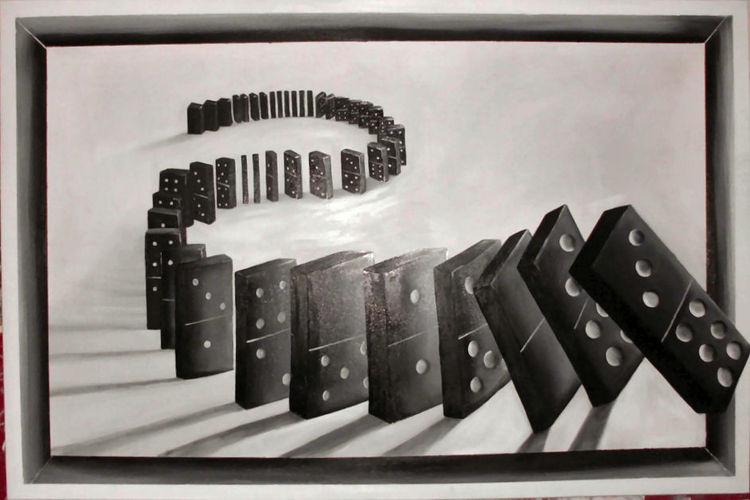 Ölmalerei, Domino, Dominosteine, Mariettagaber, Malerei,