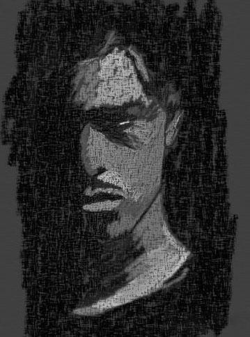 Digital art, Mann, Schwarz, Portrait, Gesicht, Grau