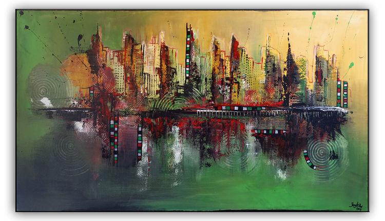 Malen, Grün, Ocker, Wandbild, Rot, Gemälde