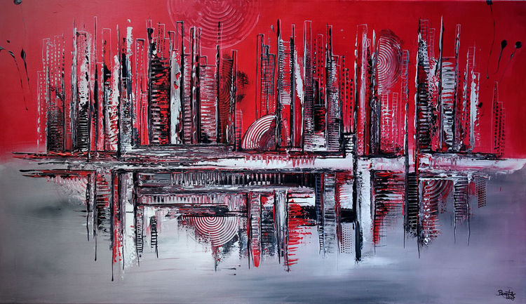 Skyline, Abstrakte malerei, Abstraktes gemälde, Malerei, Acrylmalerei, Grau