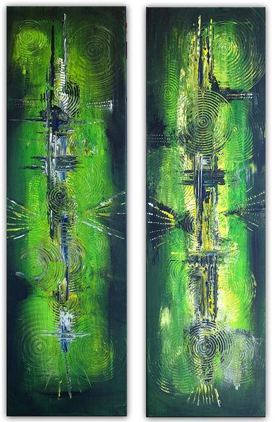 Grün, Anthrazit, Gelb, Zweiteilig, Abstrakte malerei, Abstraktes gemälde