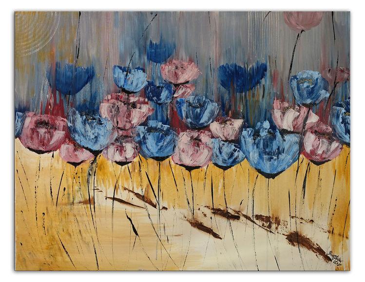 Pastellmalerei, Blütenmeer, Blau, Blumen, Ocker, Malerei