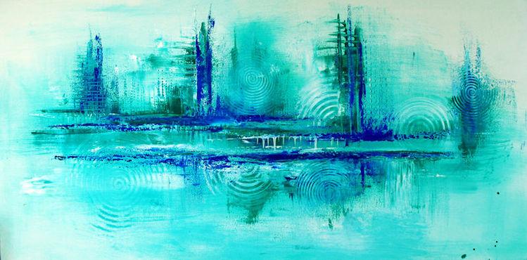 80x140, Abstrakt, Modern, Gemälde, Malerei, Blau