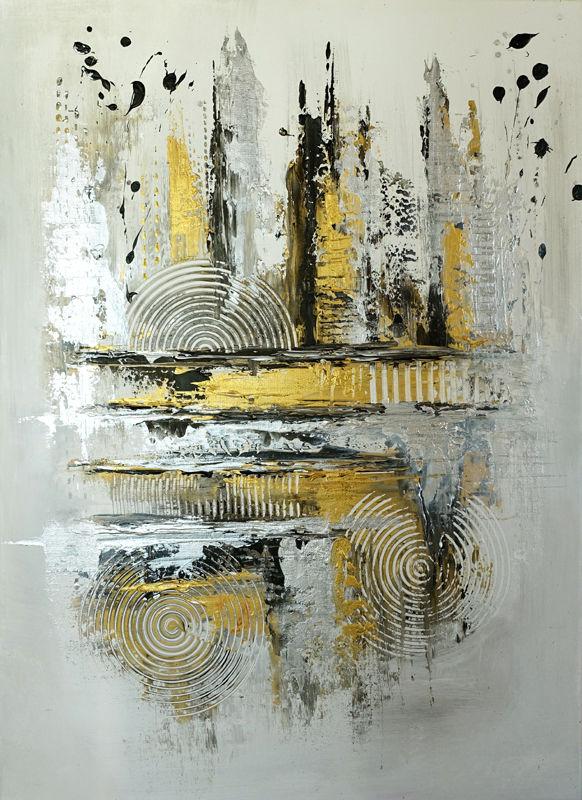 silber gold abstrakte kunst acrylbild abstrakt handgemalt kreis malerei silber. Black Bedroom Furniture Sets. Home Design Ideas