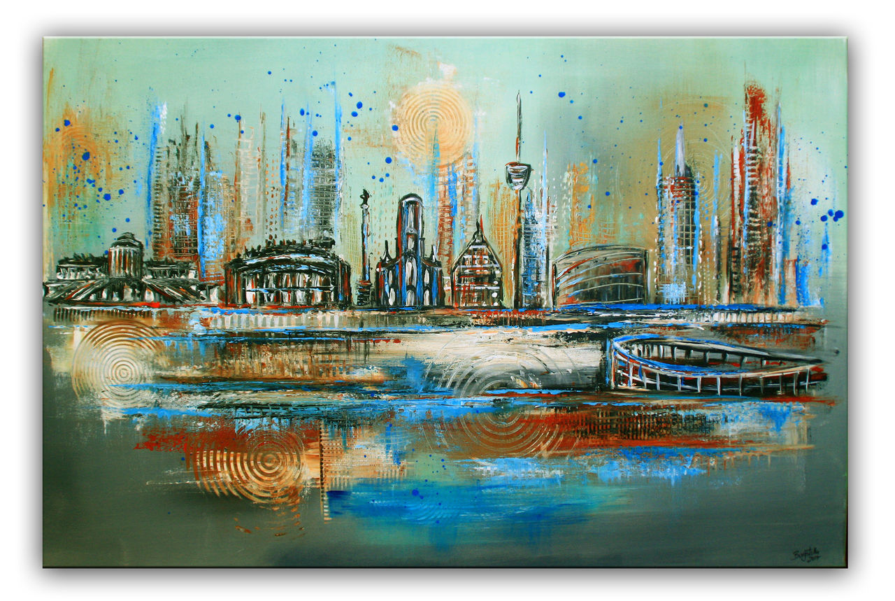 Stadtbild Skyline Arena Fernsehturm Malerei