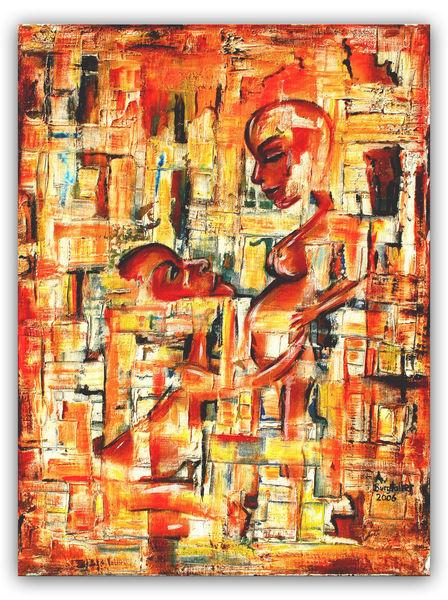 Hingabe, Malerei, Abstrakt, Wohnzimmer, Liebespaar, Gemälde