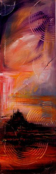 Malen, Abstrakt, Malerei, Rot, Acrylmalerei, Sonnenuntergang