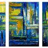 Abstrakte kunst, Abstrakt, Dreiteilig, Blau gelb