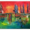 Acrylmalerei, Rot, Abstrakt, Malen