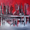 Skyline, Abstrakte malerei, Abstraktes gemälde, Malerei