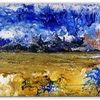 Gelb, Fließtechnik, Blau, Acrylmalerei