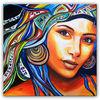 Gesichter malerei, Modern, Acrylmalerei, Frauen gesicht
