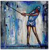 Golfspielerin, Blau weiß, Modern, Malen