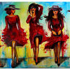 Moderne malerei, Malen, Ladies in red, Frauen rote kleider