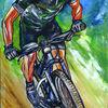 Biker, Malen, Struktur, Acrylmalerei